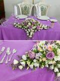 Van de het decorlijst van het huwelijk het plaatsen en de bloemen Royalty-vrije Stock Fotografie