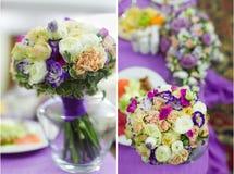 Van de het decorlijst van het huwelijk het plaatsen en de bloemen Royalty-vrije Stock Foto