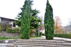 Van de het dorpsmening van Branikslovenië het kasteel Rihenberk Kras van het gebied van Gorica Karst Primorska royalty-vrije stock afbeelding