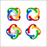 Van de het embleembol van de klemkunst de vectordistributie van de de pijlwereld stock fotografie