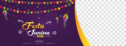 Van de het festivaldekking van Festajunina het Braziliaanse ontwerp van het de bannermalplaatje Stock Afbeeldingen