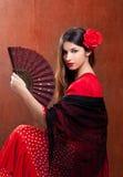 Van de het flamencodanser van de zigeuner het meisje van Spanje met rood nam toe Royalty-vrije Stock Foto's