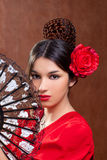 Van de het flamencodanser van de zigeuner het meisje van Spanje met rood nam toe Stock Fotografie