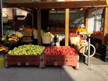 Van de het fruitmarkt van Toronto de verkopende appelen in daling Royalty-vrije Stock Afbeeldingen