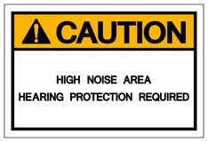 Van de het Gebiedshoorzitting van het voorzichtigheids Hoge Lawaai isoleert het de Beschermings Vereiste Symbool, Vectorillustrat stock illustratie