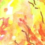 Van de het gebladertevlam van de waterverfherfst abstracte de textuurachtergrond Stock Afbeeldingen