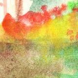 Van de het gebladertevlam van de waterverfherfst abstracte de textuurachtergrond Royalty-vrije Stock Foto's