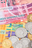 Van de het geld de het Zwitserse frank van Zwitserland bankbiljet en muntstukken royalty-vrije stock afbeeldingen