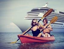 Van de het Geluk Recreatief Achtervolging van het Kayakingsavontuur het Paarconcept stock fotografie