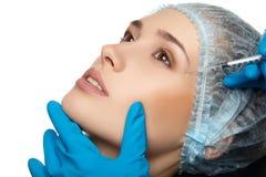 Van de het gezichtschirurgie van de schoonheidsvrouw het dichte omhooggaande portret stock afbeelding