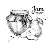 Van de het glaskruik van de perenjam de vectortekening Fruitgelei en marmelade Stock Fotografie