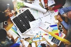 Van de het Groepswerkarchitect van de mensenvergadering de Ingenieur Blueprint Concept Stock Fotografie