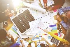Van de het Groepswerkarchitect van de mensenvergadering de Ingenieur Blueprint Concept Stock Afbeeldingen