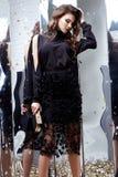 Van de het haarmake-up van de schoonheidsvrouw de donkerbruine krullende zwarte van de het gezichtsslijtage kosmetische Stock Foto