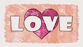 Van de het hartvorm van de eindemotie getrokken teller van het de liefdewoord van de het beeldverhaalanimatie naadloze de lijnach stock illustratie