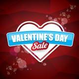 Van de het hartvorm van de valentijnskaartendag de verkoopetiket of sticker op abstracte rode achtergrond met onduidelijk beeldli Royalty-vrije Stock Afbeelding