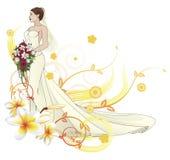 Van de het huwelijkskleding van de bruid de mooie bloemenachtergrond Stock Afbeeldingen
