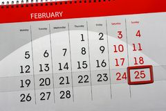Van de het jaar 2018 maand van de kalenderpagina datum 25 van Februari Stock Fotografie