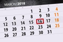 Van de het jaar 2018 maand van de kalenderpagina datum 16 van Maart Royalty-vrije Stock Afbeelding