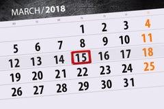 Van de het jaar 2018 maand van de kalenderpagina datum 15 van Maart Stock Afbeeldingen