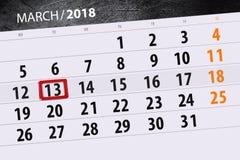 Van de het jaar 2018 maand van de kalenderpagina datum 13 van Maart Stock Afbeeldingen