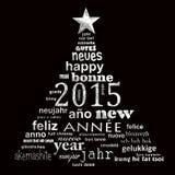 van de het jaar meertalige tekst van 2015 nieuwe van de het woordwolk de groetkaart Stock Foto
