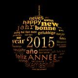 van de het jaar meertalige tekst van 2015 nieuwe van de het woordwolk de groetkaart Royalty-vrije Stock Afbeelding