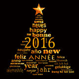 van de het jaar meertalige tekst van 2016 nieuwe van de het woordwolk de groetkaart Stock Afbeelding