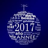van de het jaar meertalige tekst van 2017 nieuwe van de het woordwolk de groetkaart Royalty-vrije Stock Afbeeldingen