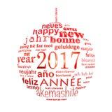 van de het jaar meertalige tekst van 2017 nieuwe van de het woordwolk de groetkaart Stock Fotografie