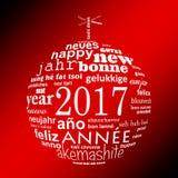van de het jaar meertalige tekst van 2017 nieuwe van de het woordwolk de groetkaart, vorm van een Kerstmisbal Stock Afbeeldingen