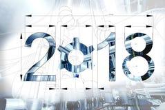 van de het jaartekst van 2018 de tekening van de de kalenderblauwdruk met beeld wordt gecombineerd dat stock afbeelding