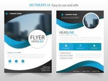 Van de het jaarverslagbrochure van Blue Circle de vector van het het ontwerpmalplaatje Affiche van het bedrijfsvliegers de infogr Stock Foto's