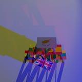 Van de het kaartenhuis instorting van Europa BREXIT van de het gevaarsramp 3D EU van CGI Stock Afbeeldingen