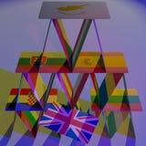 Van de het kaartenhuis instorting van Europa BREXIT van de het gevaarsramp 3D EU van CGI Stock Afbeelding