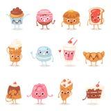 Van de het karakter de vectorchocolade van de beeldverhaalcake emotie van de de snoepjesbanketbakkerij cupcake en zoet gebakdesse stock illustratie