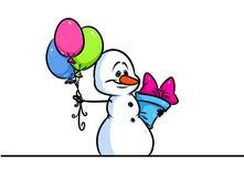 Van de het karaktergift van de Kerstmissneeuwman de ballonsbeeldverhaal Royalty-vrije Stock Foto