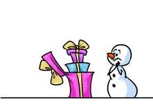 Van de het karakterrij van de Kerstmissneeuwman het beeldverhaal van de verrassingsgiften Royalty-vrije Stock Fotografie