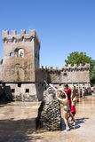 Van de het Kasteelstrijd van de waterpret van het de Slagkanon de Jonge geitjespark Stock Foto's