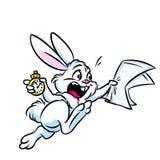 Van de het konijnhaast van het sprookjesland witte het beeldverhaalillustratie Stock Afbeelding