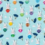 Van de het konijnkimono van Japan van de de wolkenlijn van het de ventilatorkonijn het naadloze patroon vector illustratie