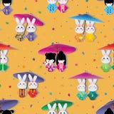 Van de het konijnpop van Japan van de de Kimonosymmetrie van de de sterdaling het naadloze patroon stock illustratie