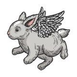 Van de het konijntjeskleur van de engelen vliegende baby de schetsgravure vector illustratie
