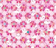 Van de het konijnventilator van de Sakura hexagon bloem roze de pastelkleur naadloos patroon Royalty-vrije Stock Afbeelding