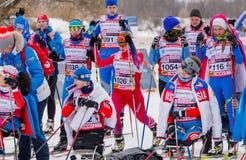 11 van de het Landgoed jaarlijkse ski van Februari 2017 kunst-Veretevo van het rasnikolov Perevoz 2017 de skimarathon van Russial Royalty-vrije Stock Fotografie