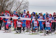 11 van de het Landgoed jaarlijkse ski van Februari 2017 kunst-Veretevo van het rasnikolov Perevoz 2017 de skimarathon van Russial Stock Afbeeldingen