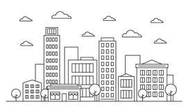 Van de het landschapshorizon van de overzichtsstad het ontwerpconcept met gebouwen, scyscrapers, bomen, wolken en koffie Vector,  royalty-vrije illustratie