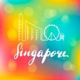 Van de het landschapslijn van Singapore de kunstillustratie royalty-vrije illustratie