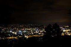 Van de het Landschapsmening van boomsilouhette Stuttgart de Nacht Gloeiende Stad Stock Foto