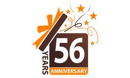 56 van de het Lintjaar Verjaardag van de Giftdoos Stock Illustratie